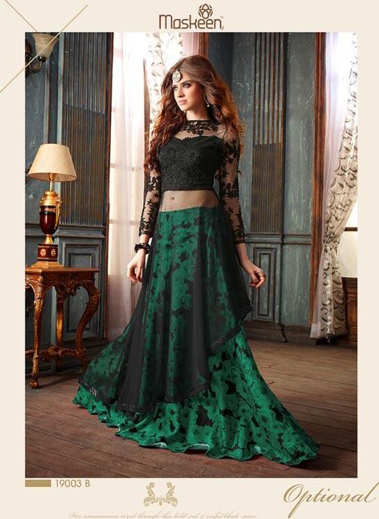 Black And Green Floor Length Net Designer Salwar Kame