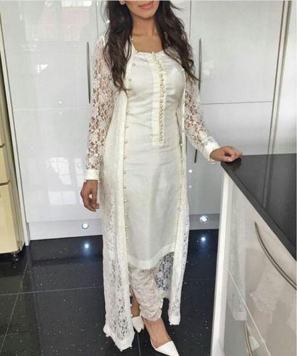Punjabi churidar suit Bollywood Designer Indian lace net SALWAR .