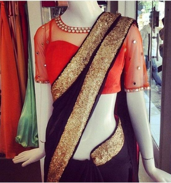 50 Latest Silk Saree Blouse Designs Catalogue 2019 | Netted blouse .