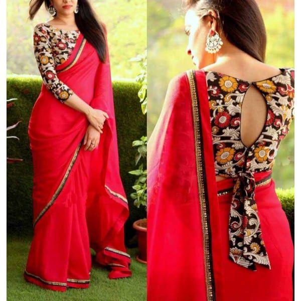 Aces aces Red Net Saree | New saree blouse designs, Kalamkari .