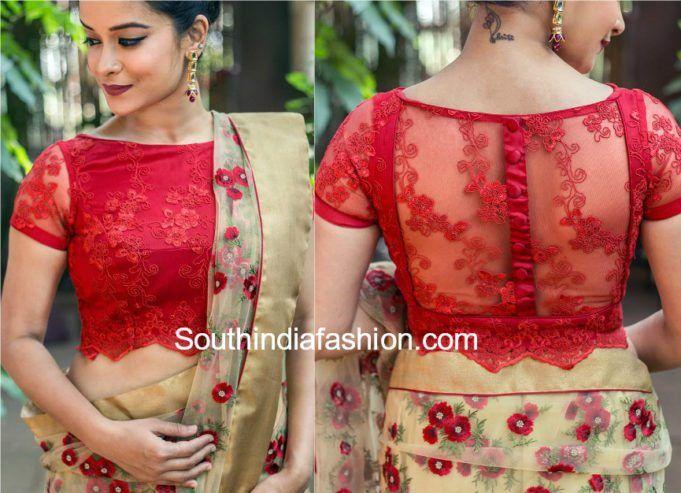Net Saree Blouse Neck Designs