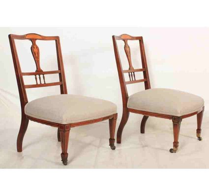 Antique Rosewood Marquetry Inlaid Nursing Chairs, Set of 2 for .