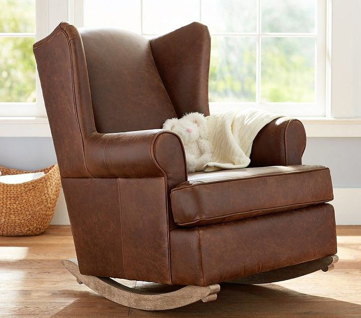 Wingback Leather Convertible Rocker & Ottoman | Nursery chair .