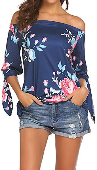 Qearal Women Off Shoulder Blouses 3/4 Sleeve Floral Print Tops at .