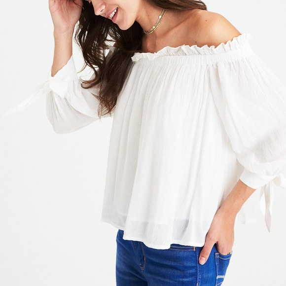 American Eagle Outfitters Tops | White Off Shoulder Blouse | Poshma