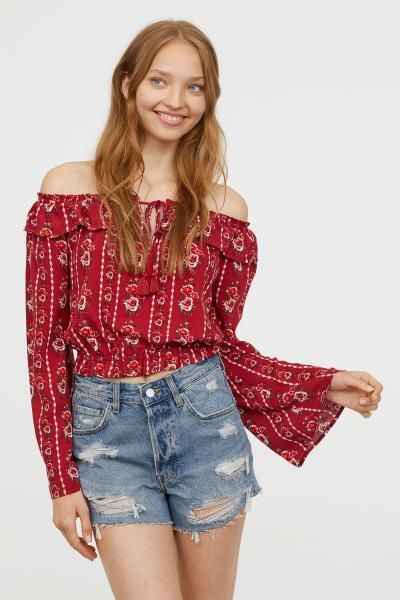 Off-the-shoulder Blouse (With images) | Blouse, Blouses for women .