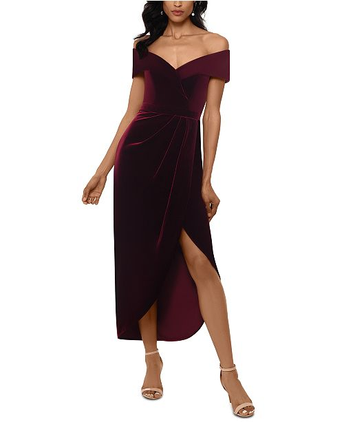 XSCAPE Petite Velvet Off-The-Shoulder Dress & Reviews - Dresses .