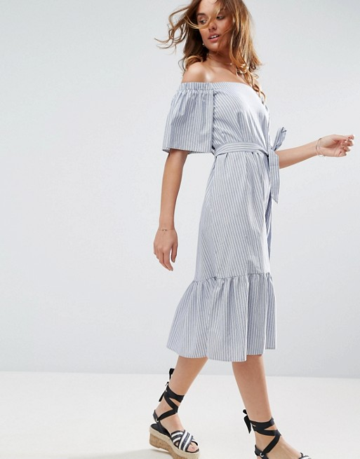 ASOS Off Shoulder Cotton Midi Dress in Stripe | AS