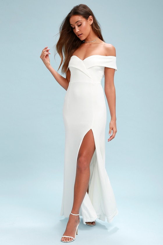 Lovely White Maxi Dress - Off-the-Shoulder Maxi Dre