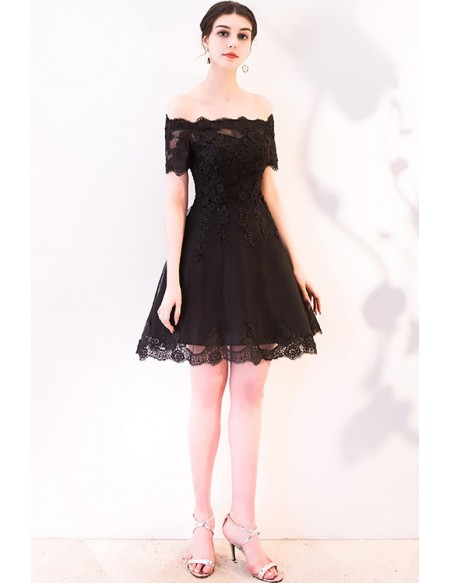 Short Black Aline Off Shoulder Homecoming Dress with Sleeves .