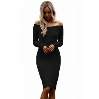 Black Off Shoulder Long Sleeve Rib Knit Sweater Dress (Black Off .