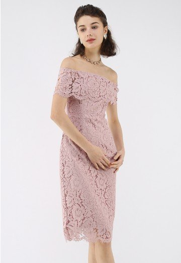 Flourishing Blooms Lace Off-Shoulder Dress in Pink - Retro, Indie .