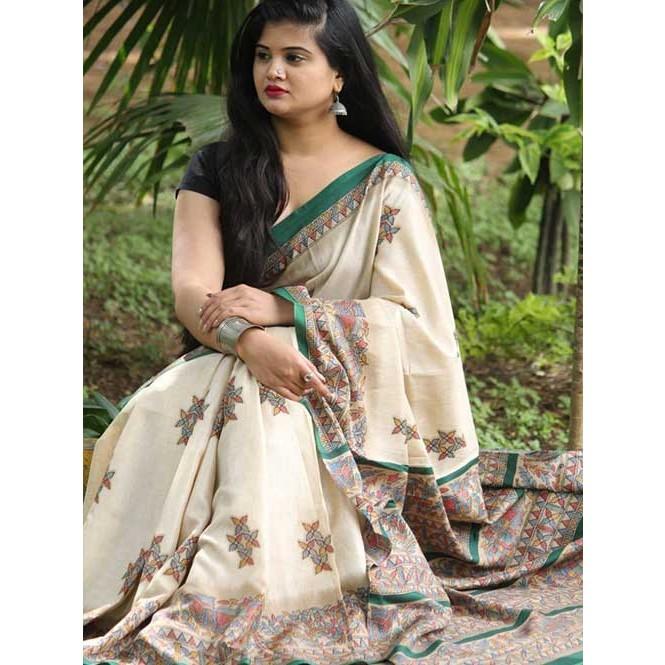 Onam Speial soft chanderi linen silk sarees online in Cream .