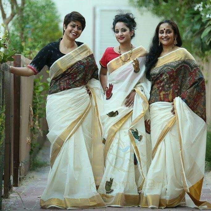 Modern kerala sarees | Kerala traditional saree, Kerala saree .