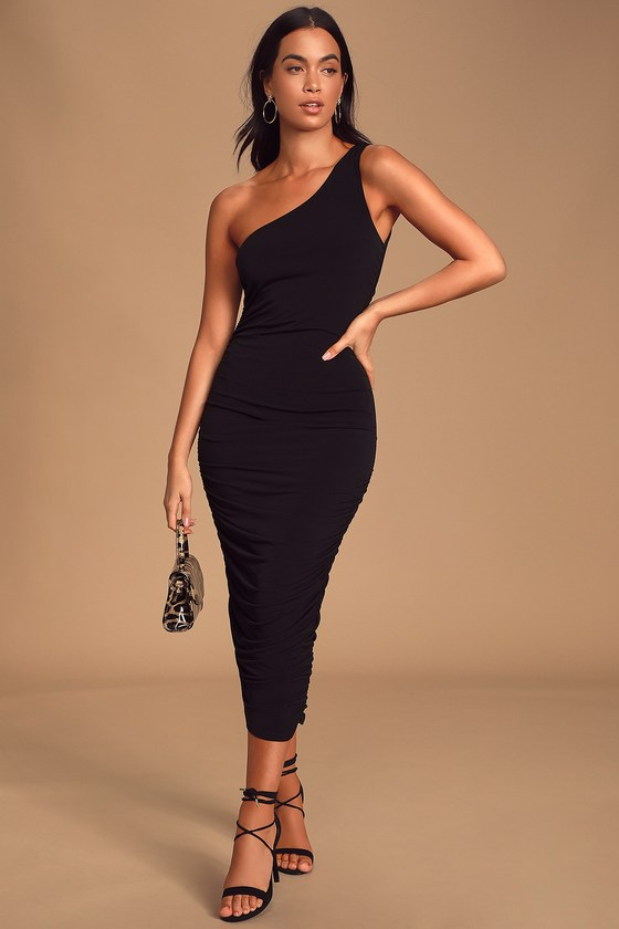 Sexy Black Midi Dress - One-Shoulder Dress - Ruched Midi Dre
