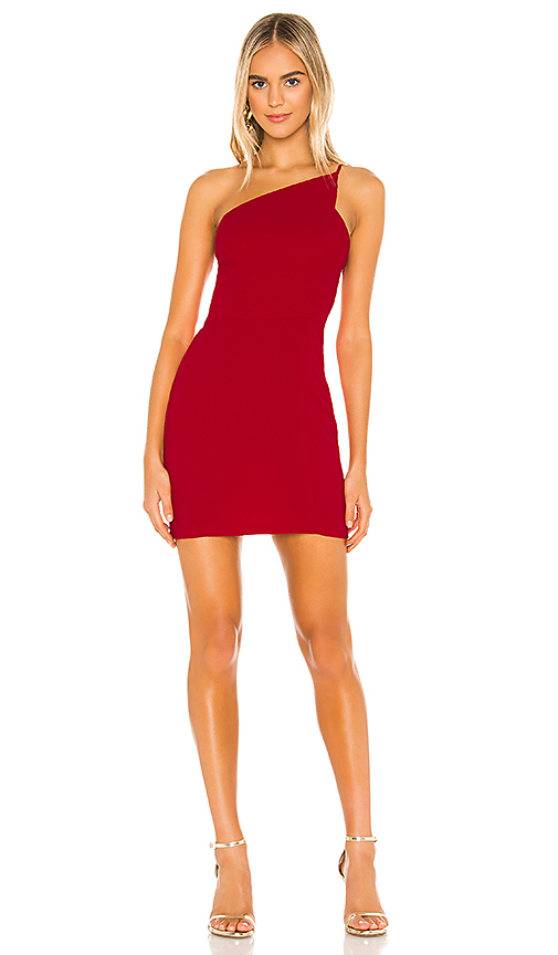 BCBGeneration Cocktail One Shoulder Dress in Ruby Red | REVOL