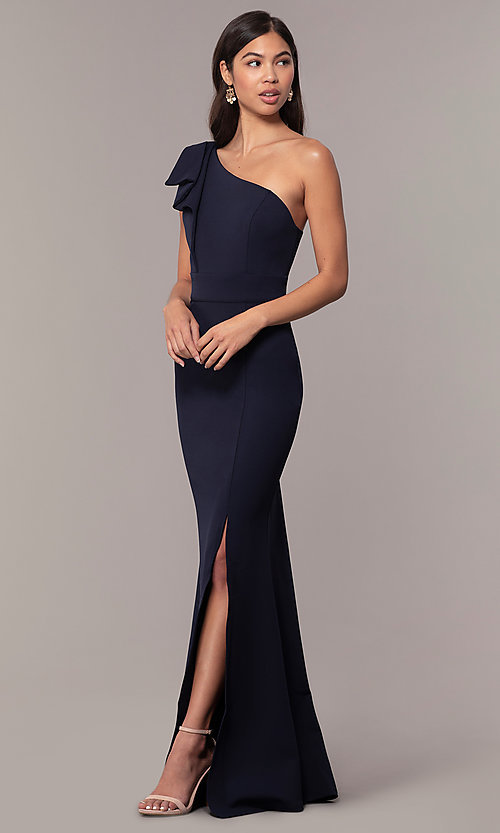 Long One-Shoulder Pleated Ruffle Prom Dress - PromGi