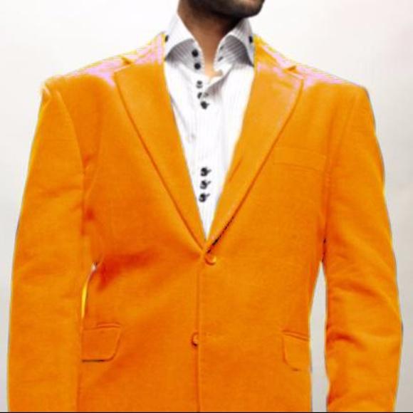 Roy Bradley Suits & Blazers | Mens Orange Velvet Blazer 2button .