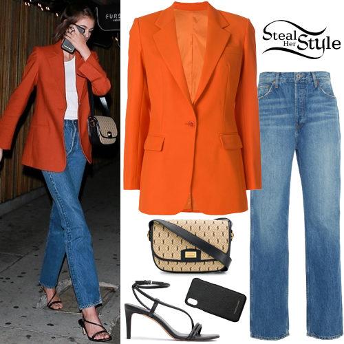 Kaia Gerber: Orange Blazer, Black Sandals | Steal Her Sty
