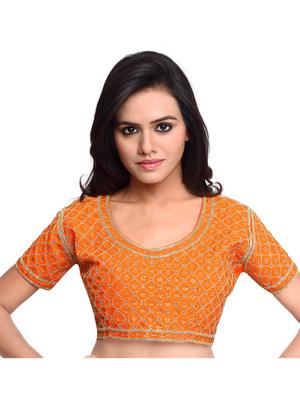 Orange Color Raw Silk Embroidered Readymade saree blouse designs .
