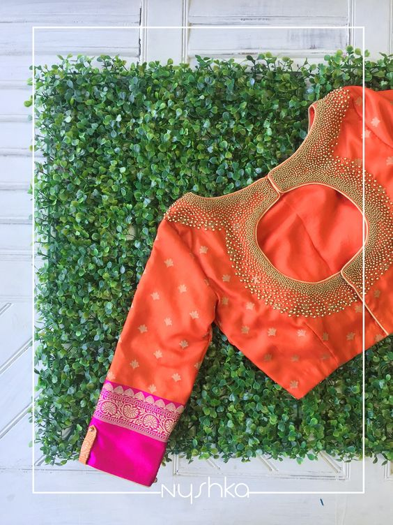 Find Pretty Orange Blouse Designs For Sarees Here • Keep Me Styli