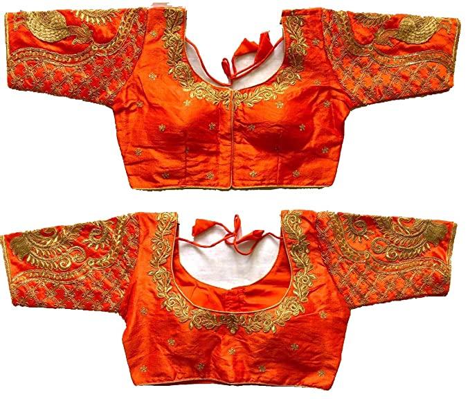 Buy Pujia Mills Women's Orange Colour Peacock Work Blouses Designs .