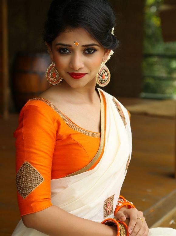 NEERJA - white sari with orange blouse | Kerala saree blouse .