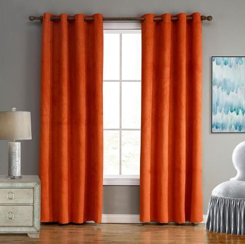 Burnt Orange Simple Blackout Bedroom Curtains Panels Suede .