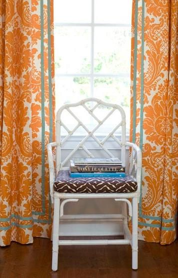 Simply Orange in Decor | Orange curtains, Chippendale chairs .
