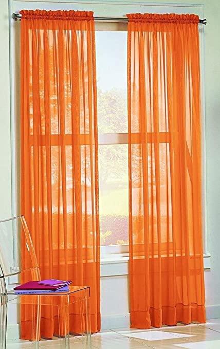 Amazon.com: DreamKingdom - 2 PCS Solid Sheer Window Curtains/Drape .