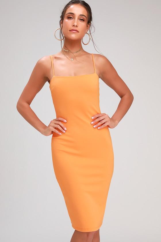 Sexy Orange Dress - Bodycon Dress - Bodycon Midi Dre