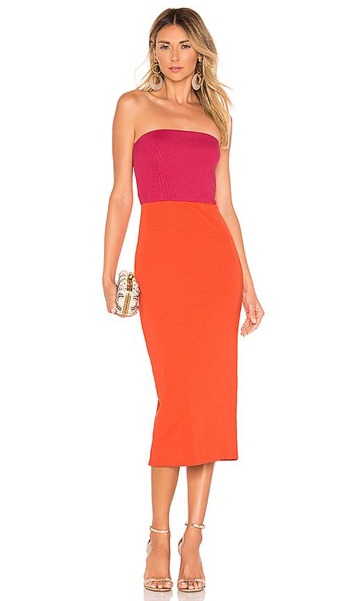 NBD Kyra Midi Dress in Fuchsia & Orange | REVOL