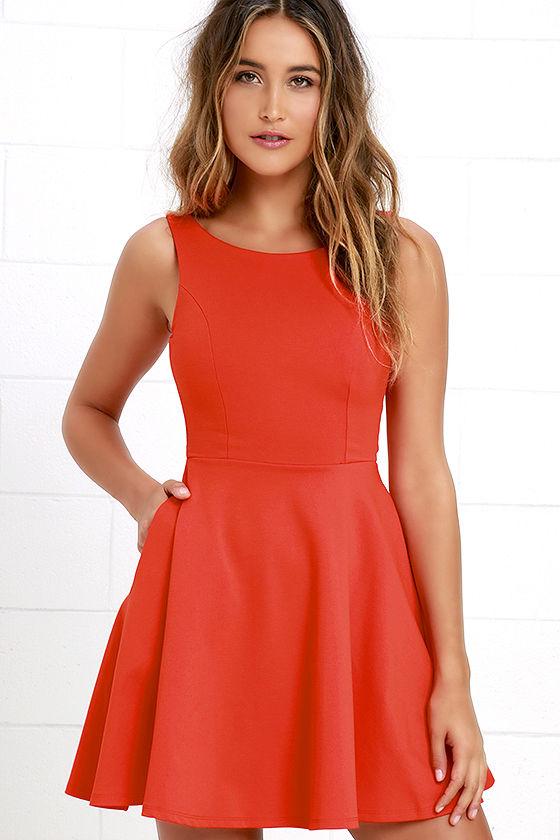 Lovely Orange Dress - Skater Dress - Fit-and-Flare Dress - $44.