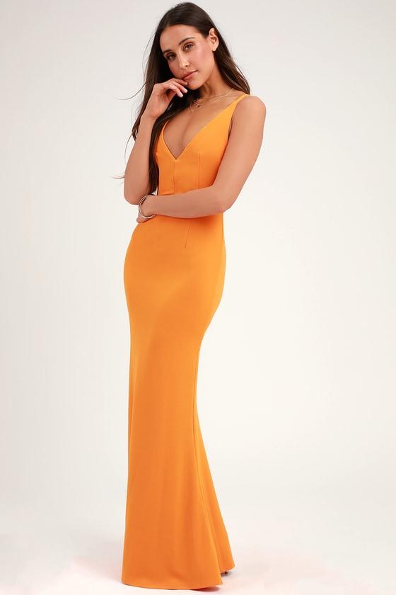 Melora Orange Sleeveless Maxi Dress in 2020 | Yellow maxi dress .