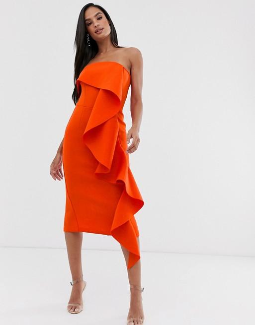Lavish Alice exaggerated frill bardot scuba dress in burnt orange .