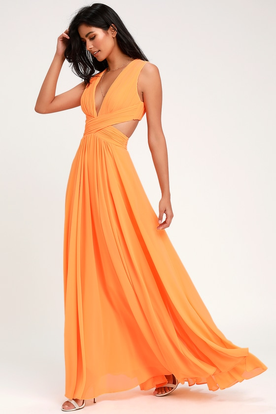 Vivid Imagination Bright Orange Cutout Maxi Dress | Bright orange .