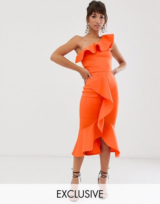 True Violet exclusive one shoulder frill bodycon dress in orange .