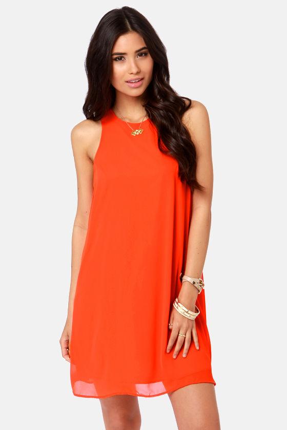 Cute Orange Dress - Chiffon Dress - Shift Dress - $37.