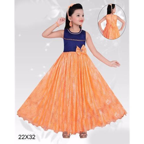 Chiffon Orange And Blue Kids Party Wear Frocks, Rs 350 /piece .