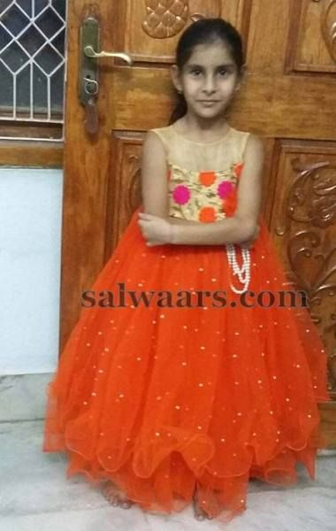 Two Layers Orange Frock (With images) | Kids designer dresses .