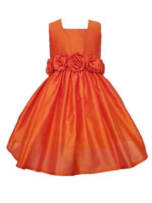 Orange Plain Raw Silk Kids Frocks - sofyana - 29256