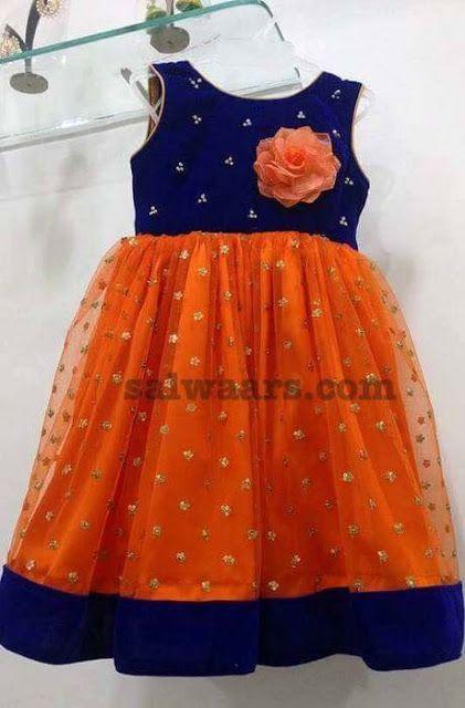 Orange Blue Kids Frock (With images) | Girls frock design, Kids .