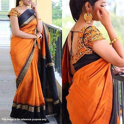 Orange - Black Saree with Embroidered Blouse | Saree designs .