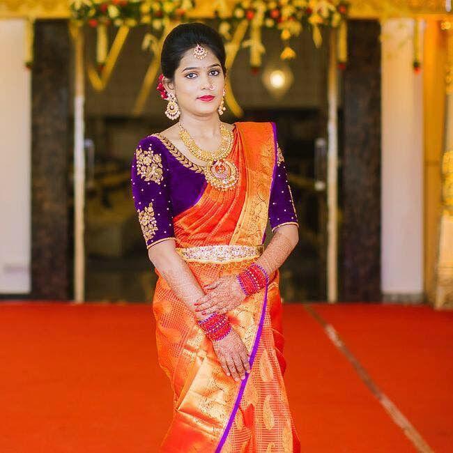Purple blouse Orange saree design | Bridal blouse designs, Pattu .