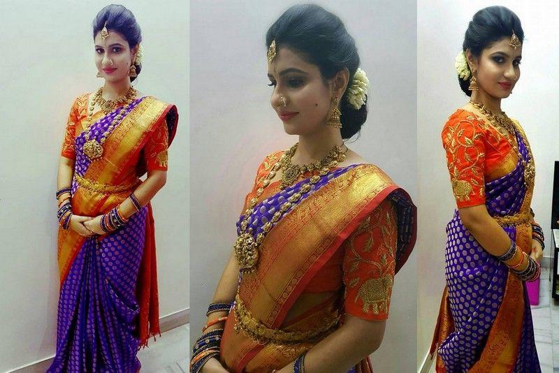 Blue Benaras Saree Orange Blouse | Bridal blouse designs, Orange .
