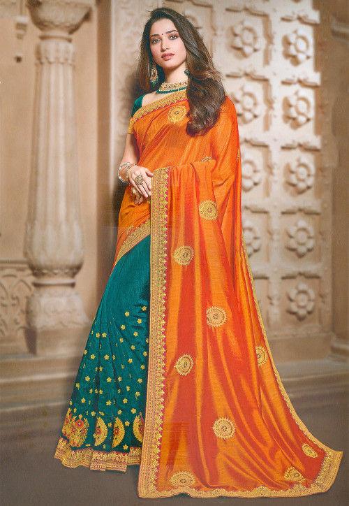Half N Half Art Silk Saree in Orange and Teal Green : SSF94