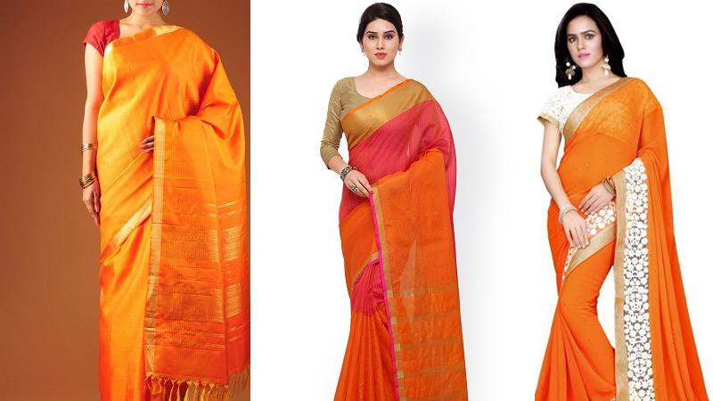 20 Beautiful Designs of Orange Sarees For Every Occasion! | Styles .