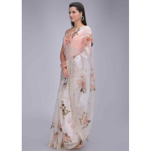 Floral Printed Organza Saree at Rs 950/piece | Motinagar .