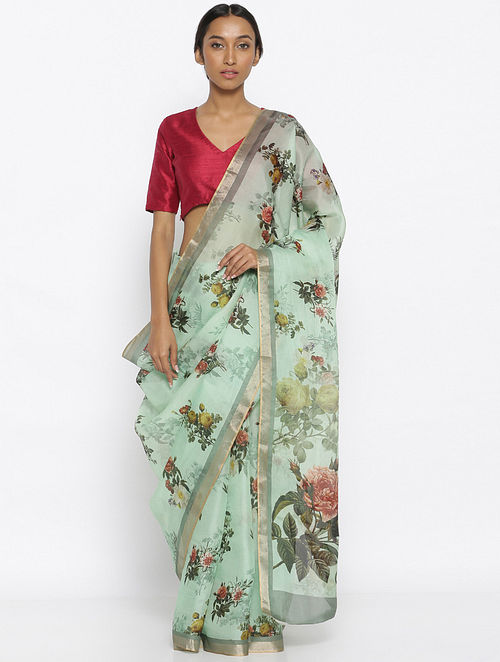 Buy Turquoise-Red Printed Organza Saree with Zari Online at .