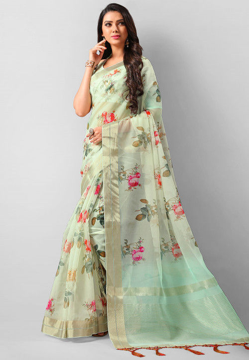 Digital Printed Organza Saree in Pastel Green : SSF68